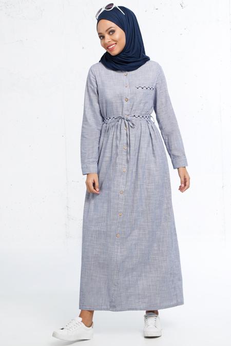 Refka Lacivert Boydan Düğmeli Elbise