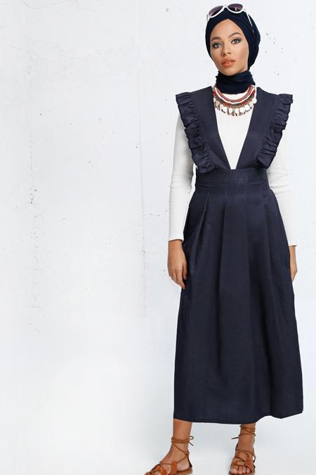 Refka Lacivert Salopet Elbise