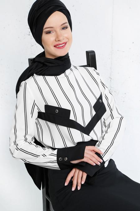 Refka Siyah Beyaz Çizgili Bluz