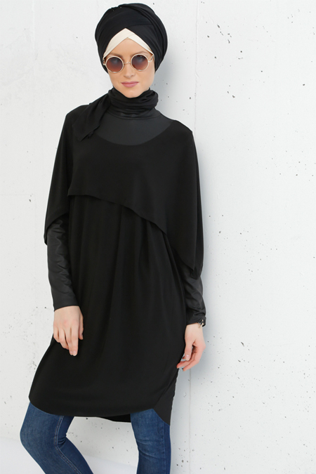 Refka Siyah Pelerin Detaylı Tunik