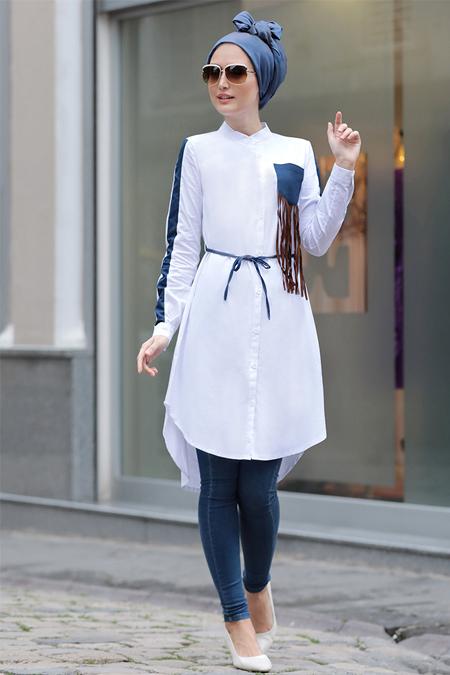 Selma Sarı Design Beyaz Püsküllü Tunik