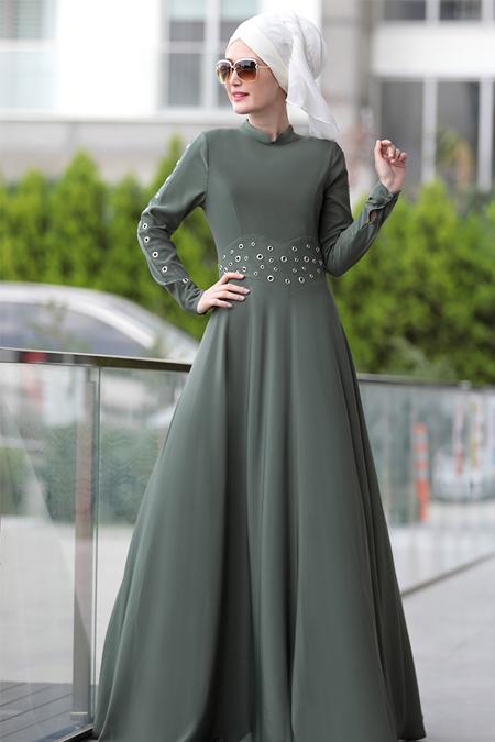 Selma Sarı Design Haki Kuş Gözü Detaylı Elbise