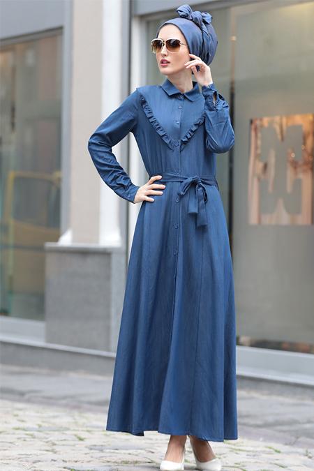 Selma Sarı Design Lacivert Kot Elbise