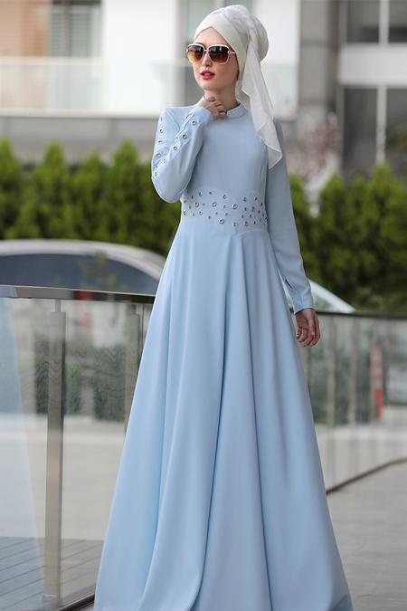 Selma Sarı Design Mavi Kuş Gözü Detaylı Elbise