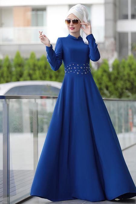 Selma Sarı Design Saks Kuş Gözü Detaylı Elbise
