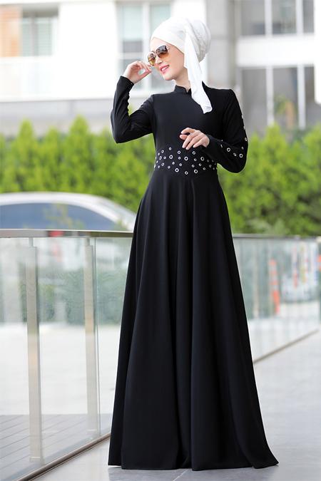 Selma Sarı Design Siyah Kuş Gözü Detaylı Elbise