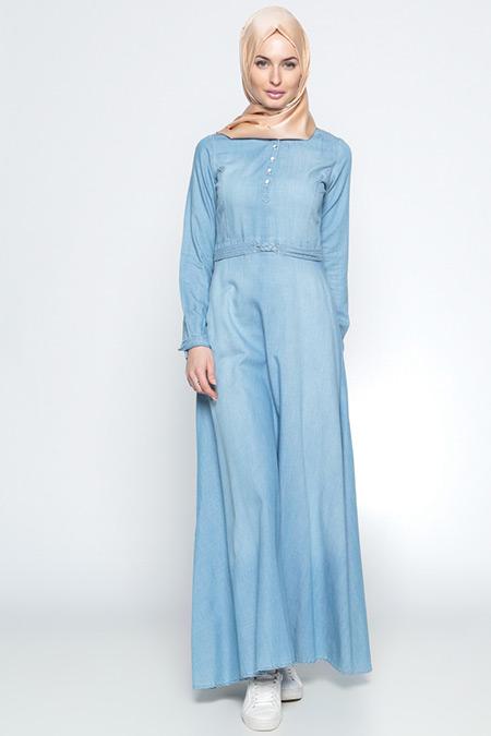Tuğba Açık Mavi Düğme Detaylı Kot Elbise