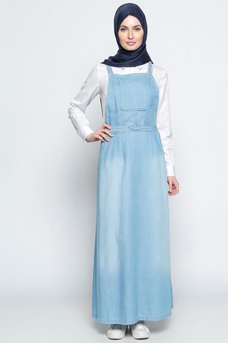 Tuğba Açık Mavi Salopet Kot Elbise