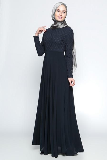 Tuğba Lacivert Boncuk Detaylı Abiye Elbise