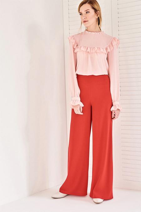 Vavist Kırmızı Bol Paça Yüksek Bel Pantolon