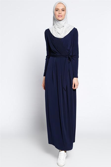 Vitrinsbutik Lacivert Kruvaze Yaka Elbise