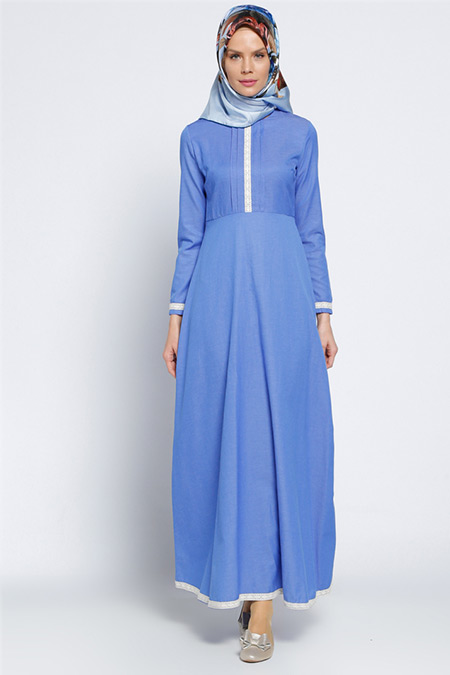 Vitrinsbutik Mavi Fistolu Elbise