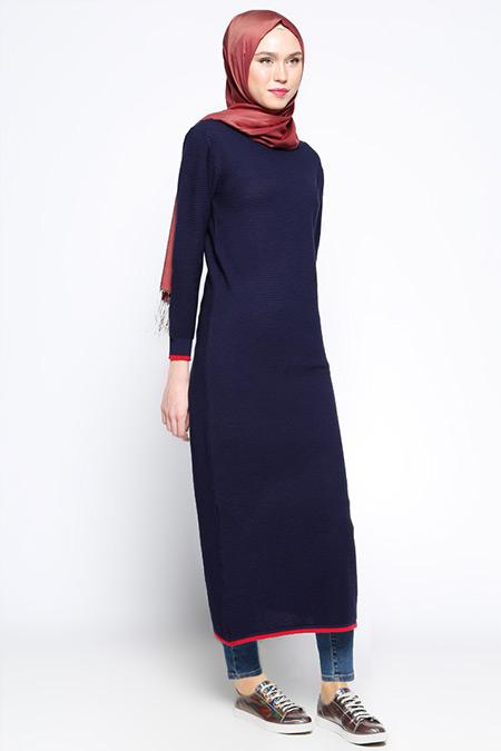 Zentoni Lacivert Triko Elbise