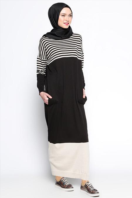 Zentoni Siyah Triko Elbise