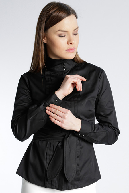 adl Siyah Şal Yaka Gizli Düğmeli Bluz