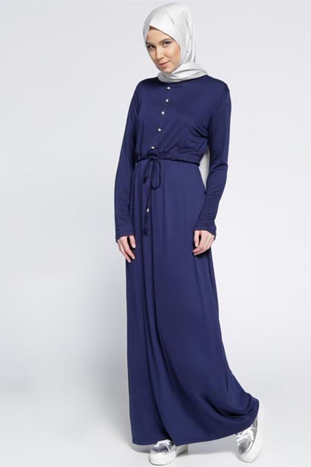 Everyday Basic Lacivert Düğme Detaylı Elbise
