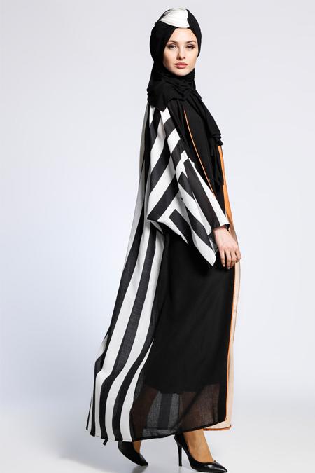 AJAL Siyah Turuncu Desenli Kolsuz Elbise & Ferace İkili Takım