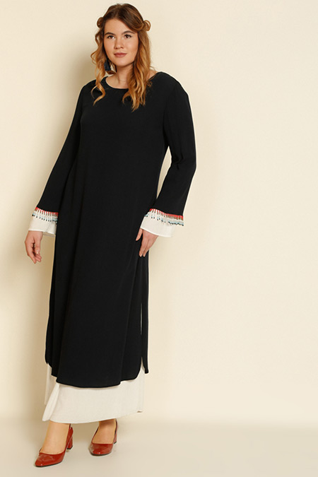 Alia Lacivert Boncuk Süslemeli Elbise