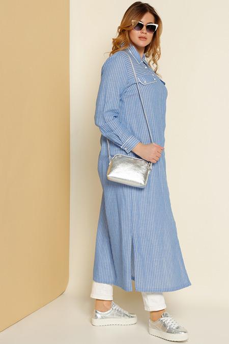 Alia Mavi Gömlek Elbise