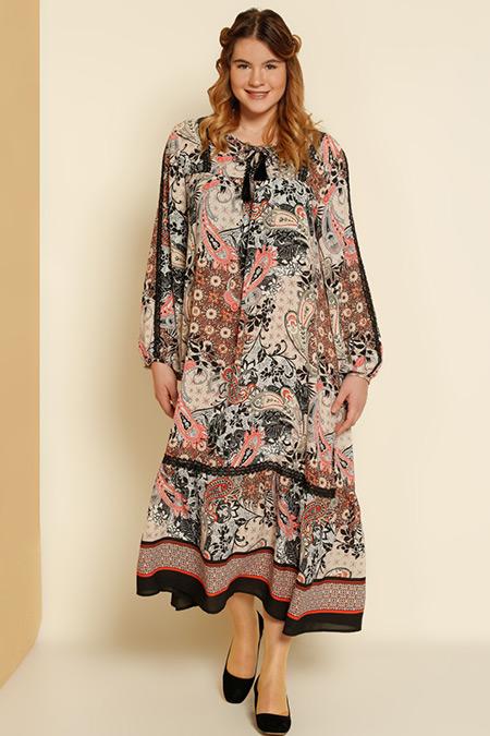Alia Turuncu Siyah Şal Desenli Dantel Detaylı Elbise