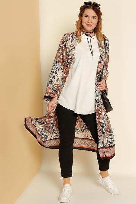 Alia Turuncu Siyah Şal Desenli Kimono