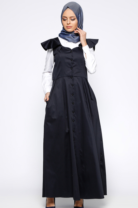 Azra Özer Lacivert Düğmeli Kolsuz Elbise