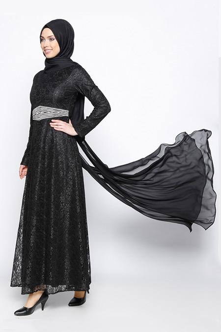 BÜRÜN Siyah Dantelli Abiye Elbise