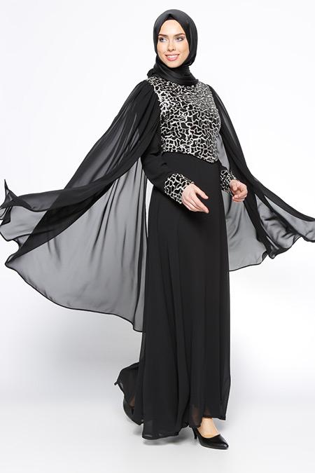 BÜRÜN Siyah Payetli Abiye Elbise