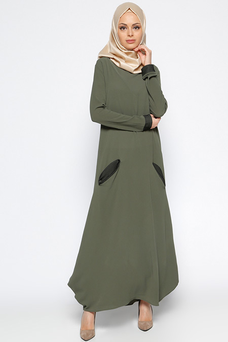 Beha Tesettür Haki Kapüşonlu Elbise