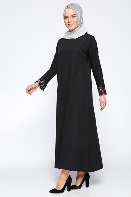 Beha Tesettür Siyah Güpür Aplikeli Elbise