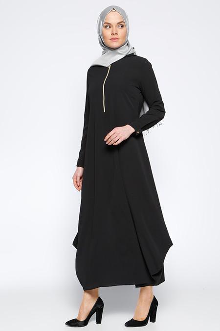 Beha Tesettür Siyah Kapüşonlu Elbise