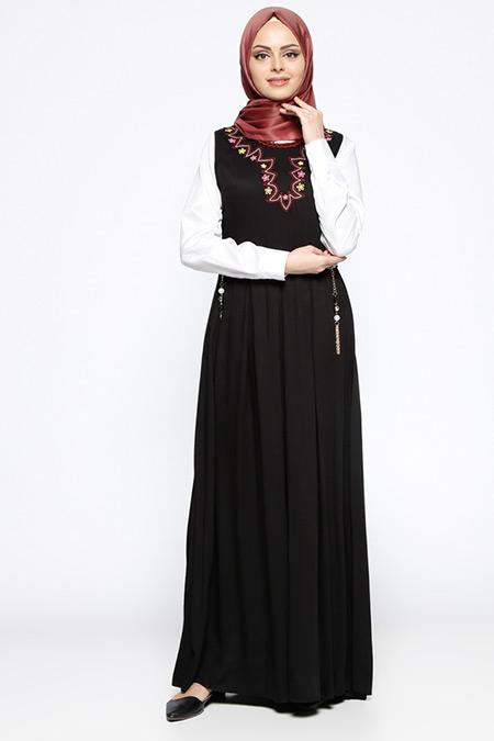 Beha Tesettür Siyah Nakışlı Kolsuz Jile Elbise