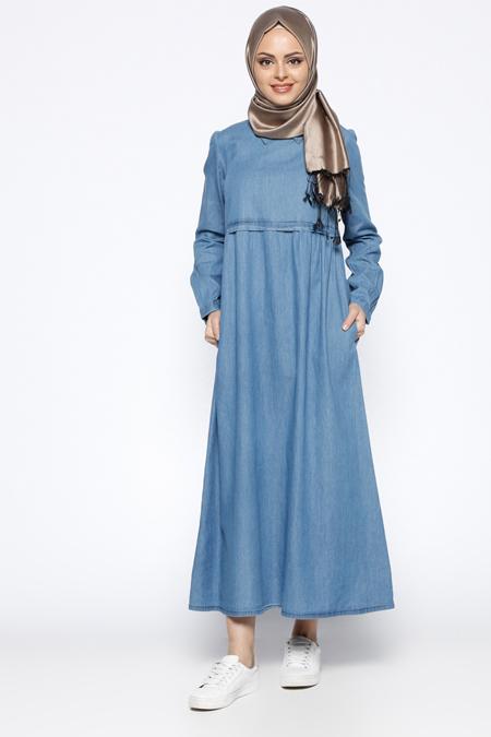 Beha Tesettür Buz Mavisi Kot Elbise