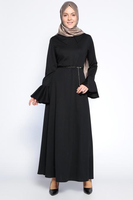 Beha Tesettür Siyah Kolları Volanlı Elbise