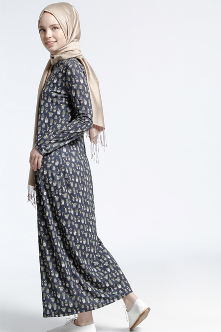 Benin Antrasit Desenli Elbise