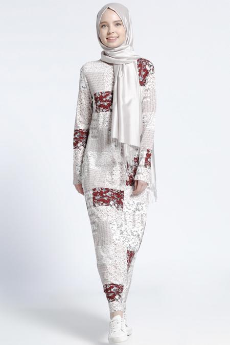 Benin Bordo Desenli Elbise