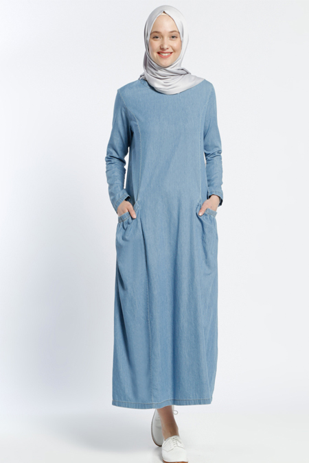 Benin Buz Mavisi Cep Detaylı Kot Elbise