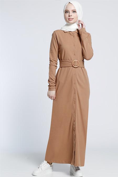 Benin Camel Naturel Kumaşlı Elbise