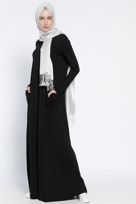 Everyday Basic Siyah Naturel Kumaşlı Cepli Elbise