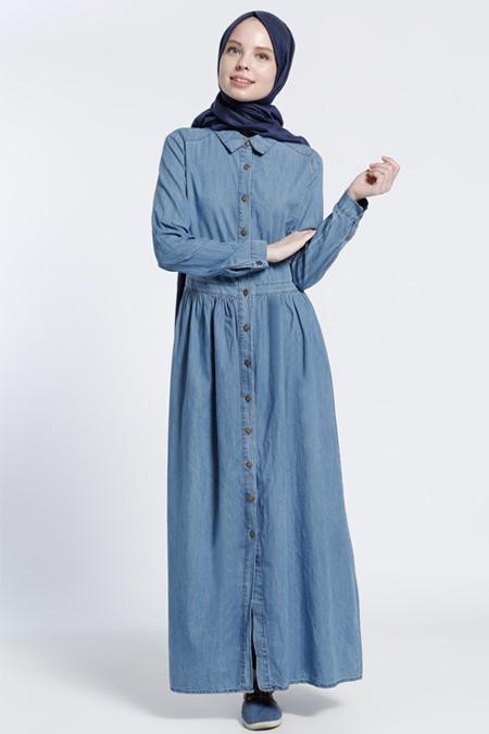 Benin Buz Mavisi Naturel Kumaş Kot Elbise