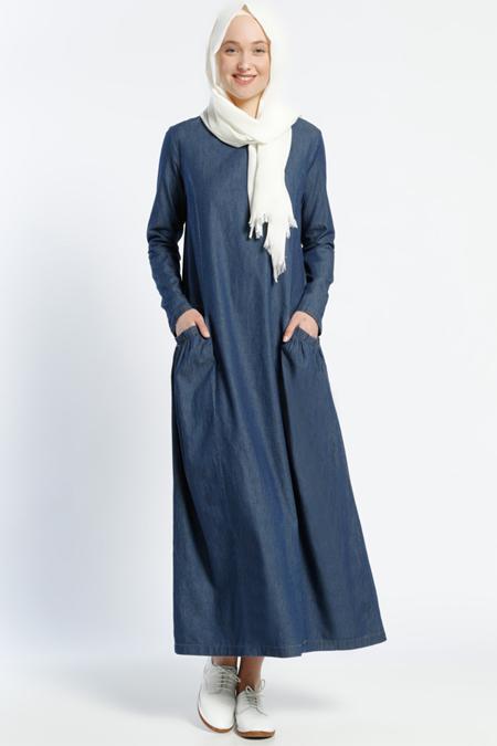 Benin Lacivert Cep Detaylı Kot Elbise