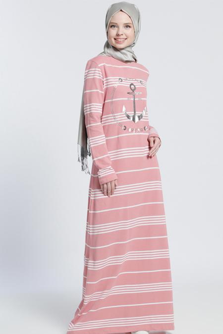 Benin Pudra Naturel Kumaşlı Çizgili Elbise