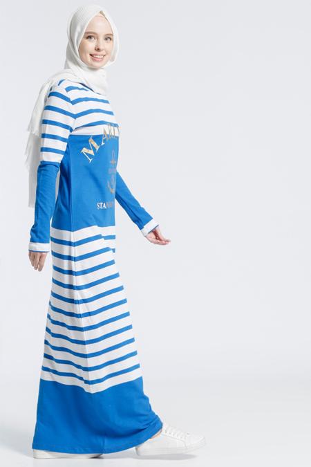 Benin Saks Natürel Kumaşlı Spor Elbise