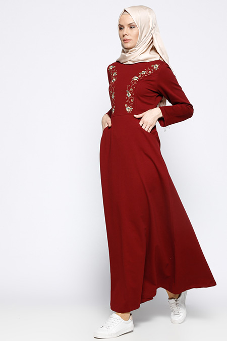 Bwest Bordo Nakışlı Elbise