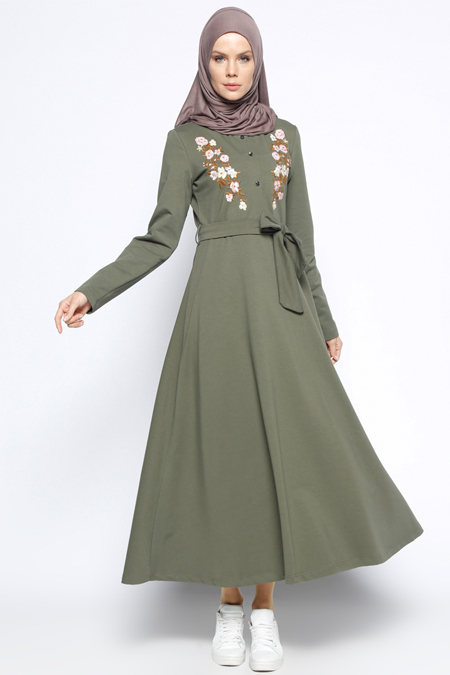 Bwest Haki Nakış Detaylı Elbise