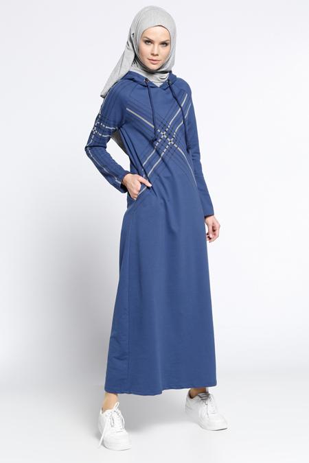 Bwest İndigo Kapüşonlu Spor Elbise