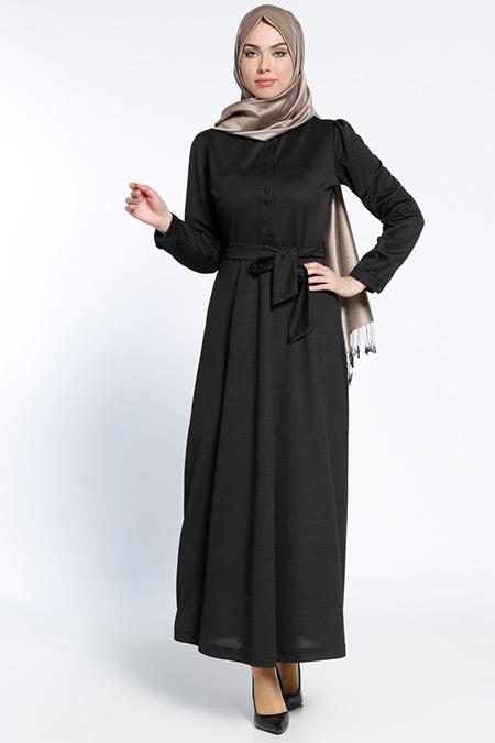 Bwest Siyah Düğme Detaylı Elbise