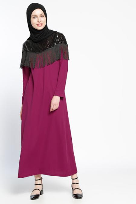 Dadali Mürdüm Püskül Detaylı Elbise