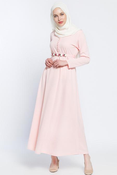 Dadali Pudra Kemerli Elbise