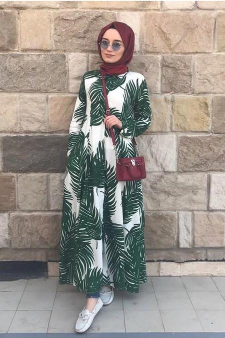 ELİF ECER Palmiye Desenli Gömlek Elbise